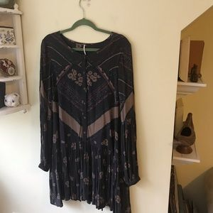 Free People Rayon Floral Buttondown Swing Dress